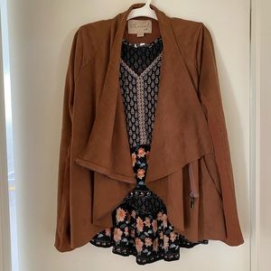 Rust brown camel drape front jacket Small